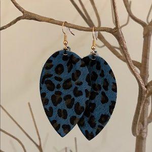 Free People Jewelry - BOGO! Blue Leopard Teardrop Earrings